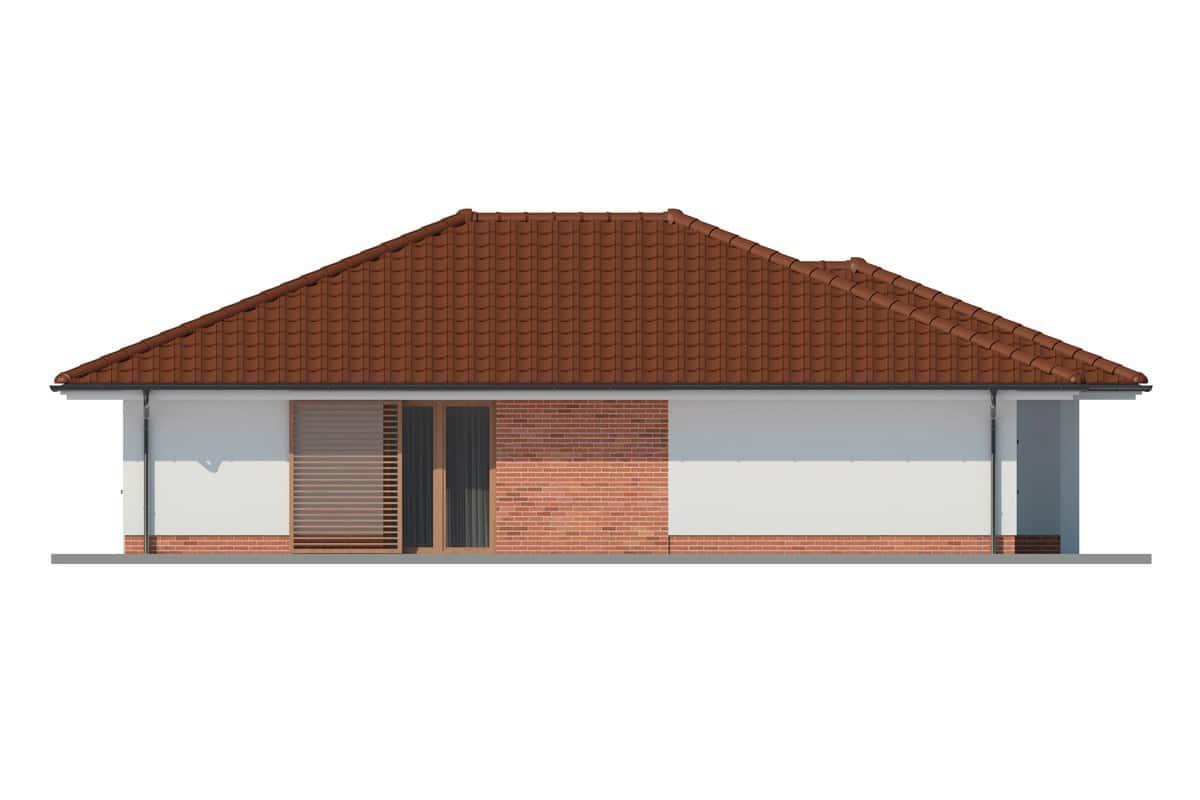 Фасад одноэтажного дома c гаражом и террасой «КО-162» - слева