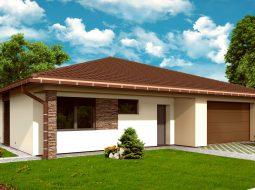 Проект одноэтажного дома c гаражом на 2 авто и террасой «КО-164»