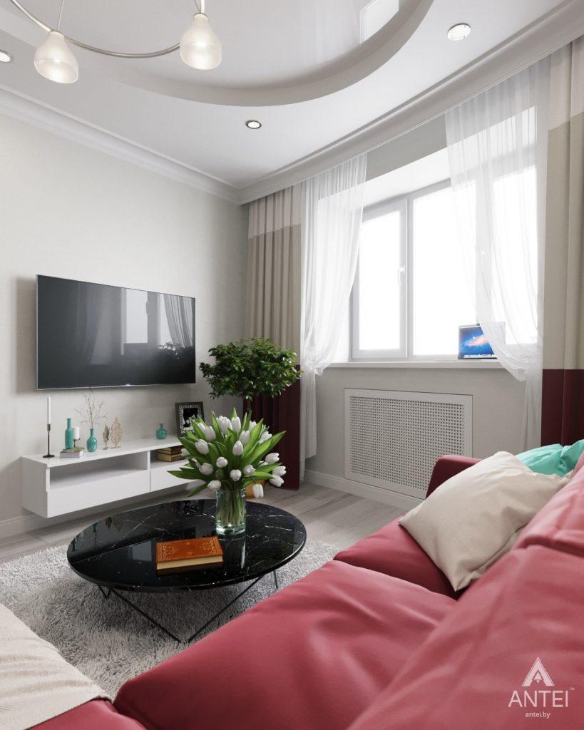 Дизайн интерьера однокомнатной квартиры в Минске - Гостиная фото №2