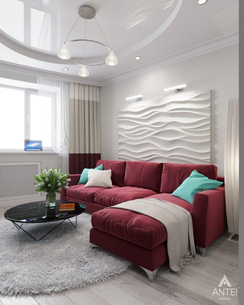 Дизайн интерьера однокомнатной квартиры в Минске - Гостиная фото №1