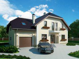 Проект мансардного дома с гаражом, террасой и балконом «КМ-104»