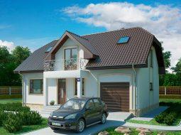 Проект мансардного дома с гаражом, террасой и балконом «КМ-106»
