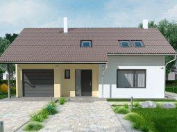 Проект узкого мансардного дома с гаражом «КМ-124»