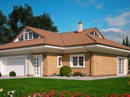 Проект мансардного дома с гаражом на 2 авто и террасой «КМ-128»