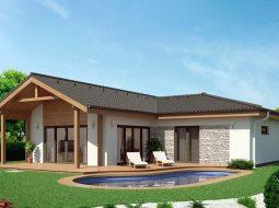 Проект одноэтажного дома c террасой (гаражом) «КО-166»