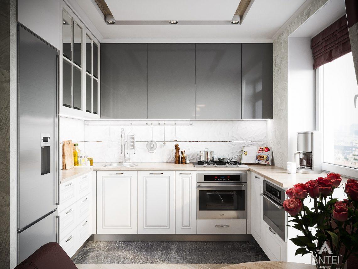 Дизайн интерьера однокомнатной квартиры в Минске - кухня фото №1
