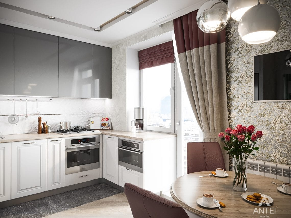 Дизайн интерьера однокомнатной квартиры в Минске - кухня фото №2