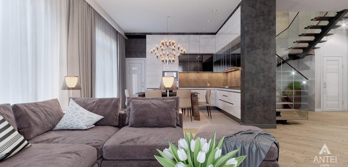 Дизайн интерьера дома в п. Романовичи - кухня-гостиная фото №1