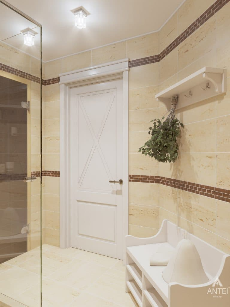 Дизайн интерьера дома в мкр-не Романовичи - санузел-сауна фото №4