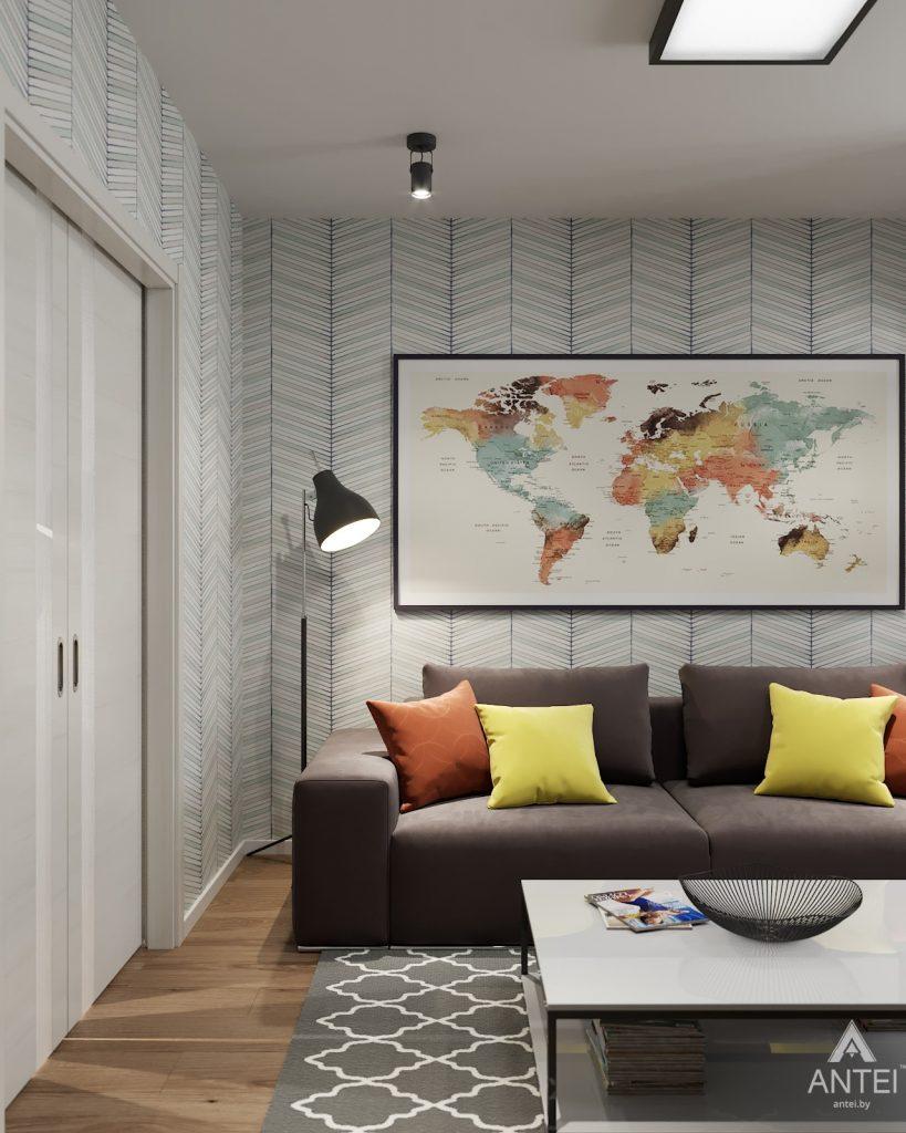 Дизайн интерьера двухкомнатной квартиры в Гомеле, ул. Барыкина - гостиная фото №1