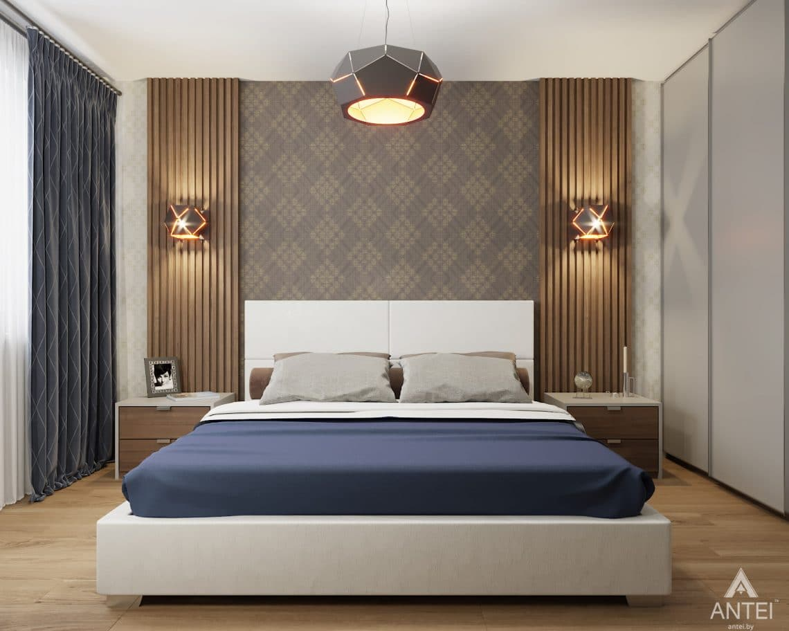 Дизайн интерьера двухкомнатной квартиры в Гомеле, ул. Барыкина - спальня фото №1