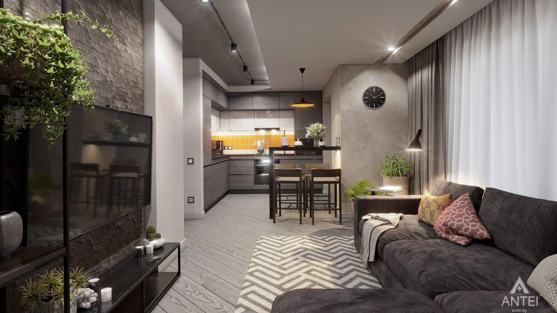Дизайн интерьера двухкомнатной квартиры в Гомеле, ул. Пионерская - гостиная фото №1