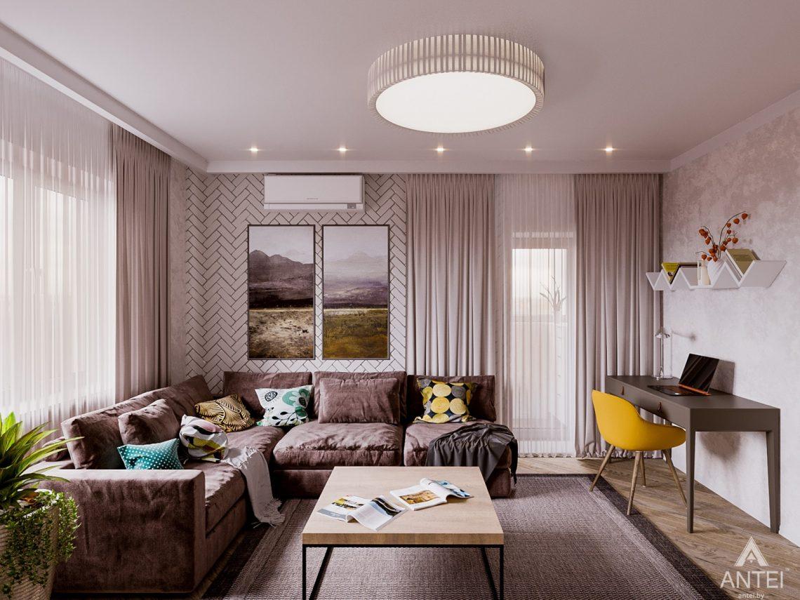 Дизайн интерьера двухкомнатной квартиры в Гомеле, ул. Карла Маркса - гостиная фото №3