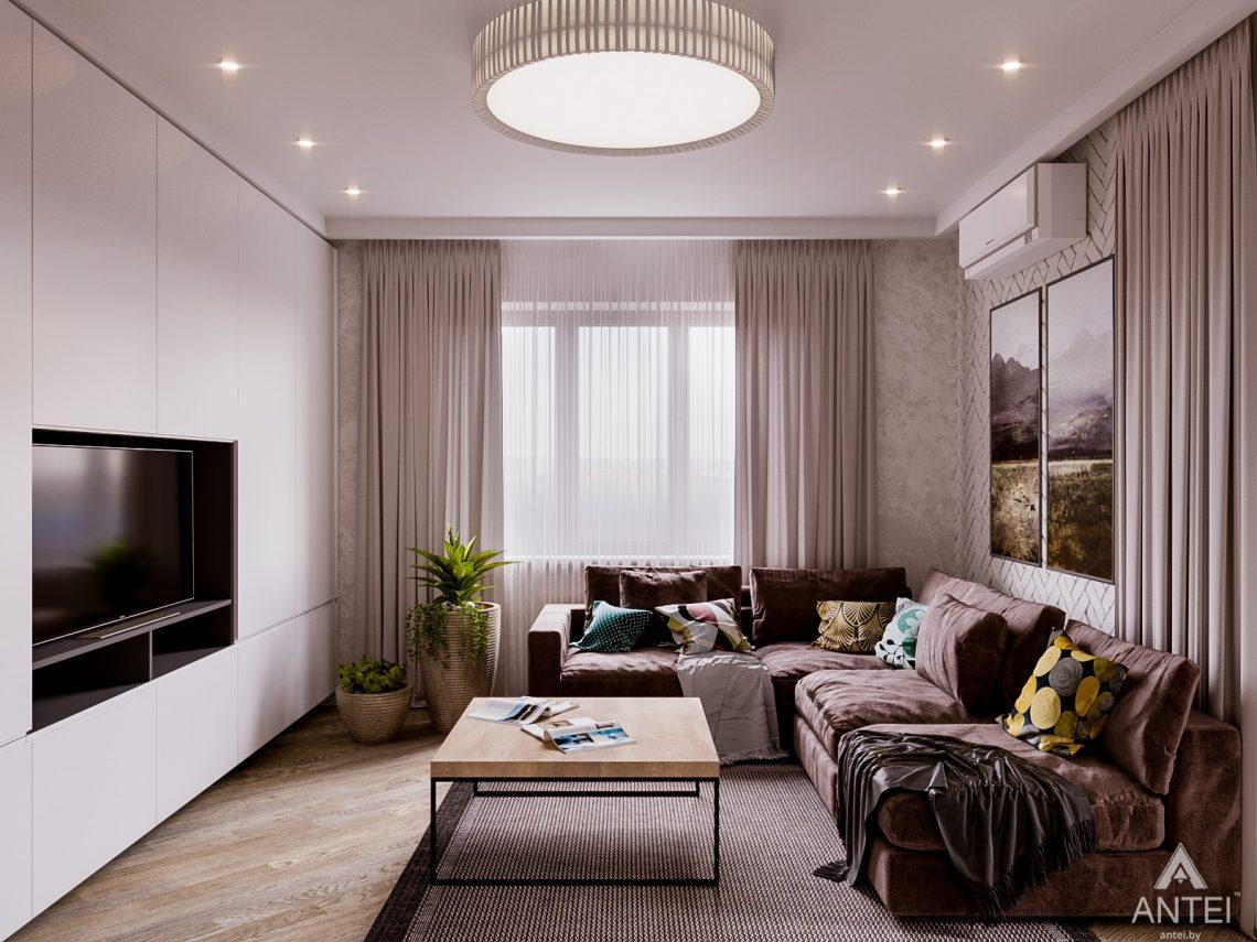 Дизайн интерьера двухкомнатной квартиры в Гомеле, ул. Карла Маркса - гостиная фото №2