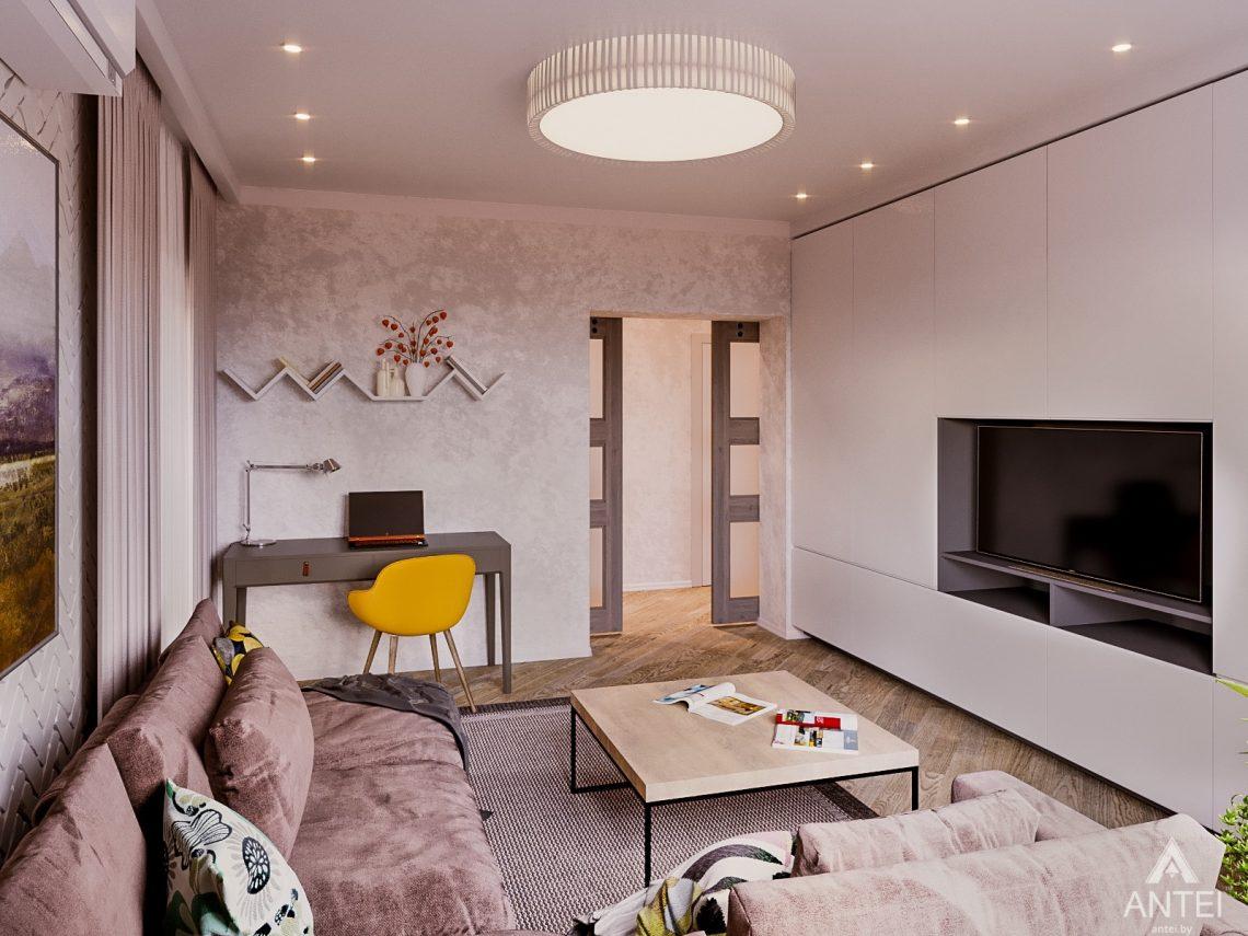 Дизайн интерьера двухкомнатной квартиры в Гомеле, ул. Карла Маркса - гостиная фото №1