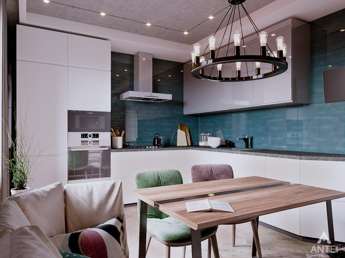 Дизайн интерьера двухкомнатной квартиры в Гомеле, ул. Карла Маркса - кухня фото №1