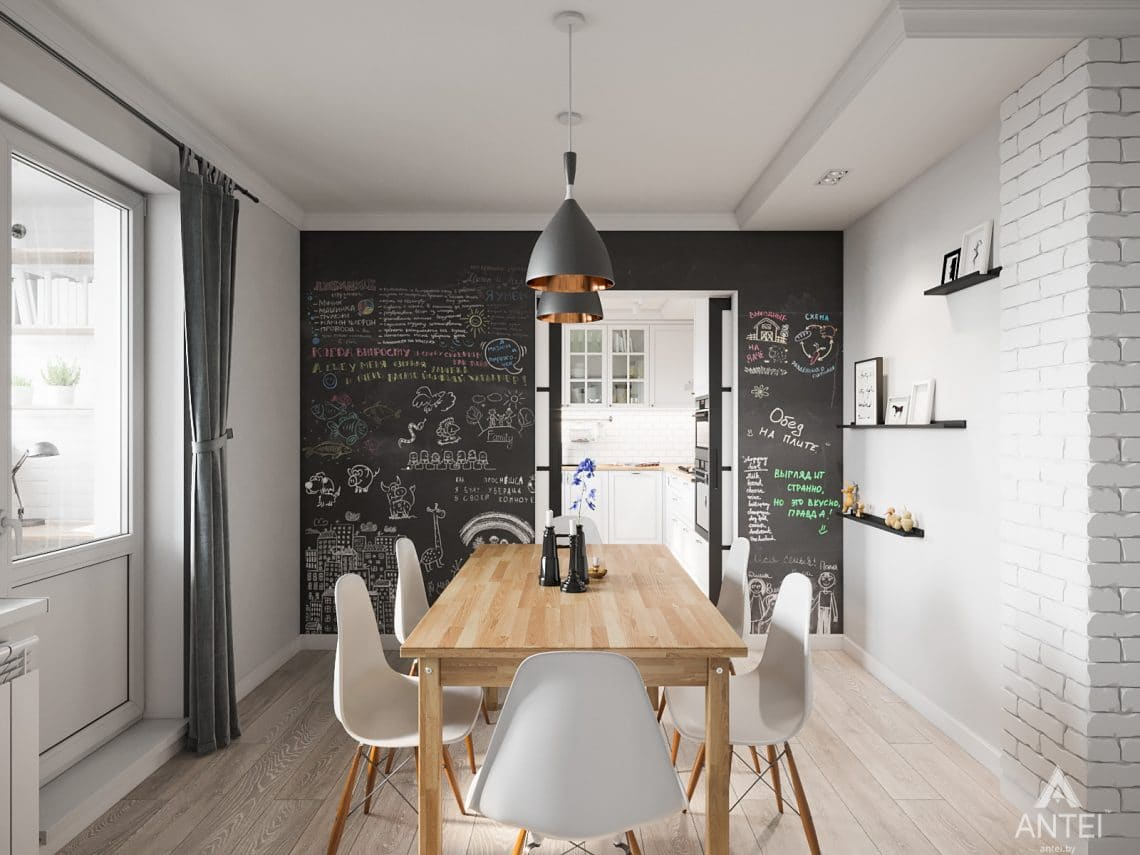 Дизайн интерьера трехкомнатная квартира в Гомеле, ул. Свиридова - кухня фото №4