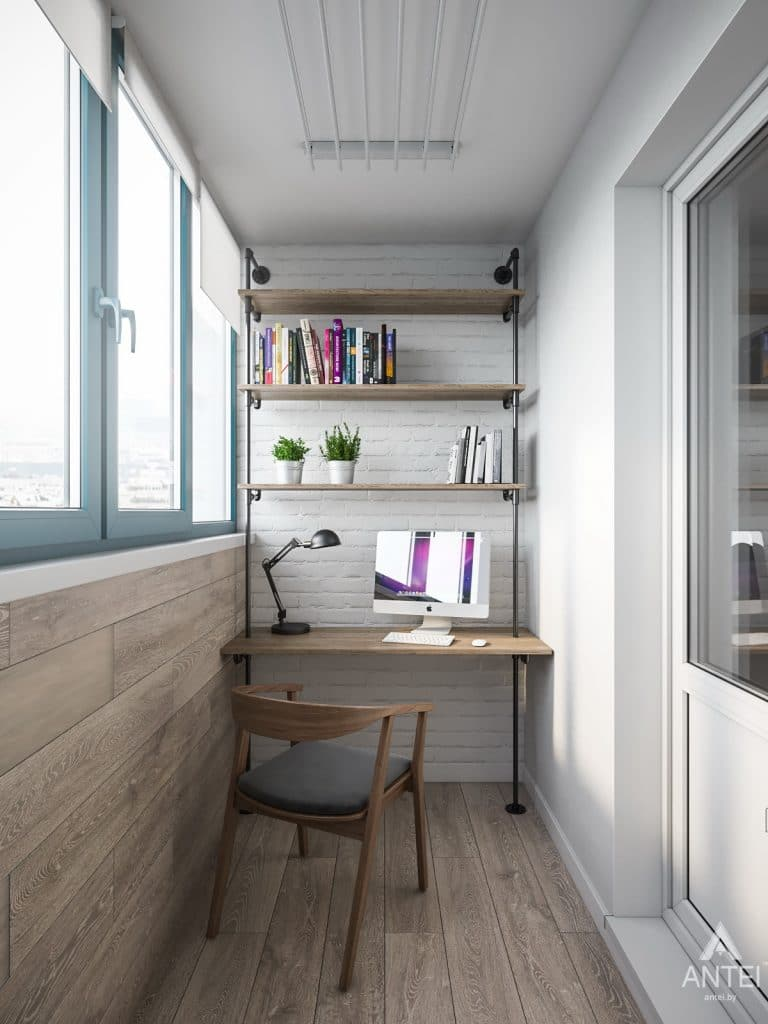 Дизайн интерьера трехкомнатная квартира в Гомеле, ул. Свиридова - лоджия фото №1
