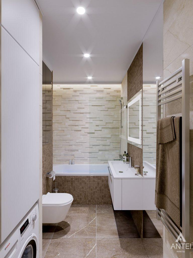 Дизайн интерьера двухкомнатной квартиры в Гомеле, ул. Карла Маркса - ванная фото №1