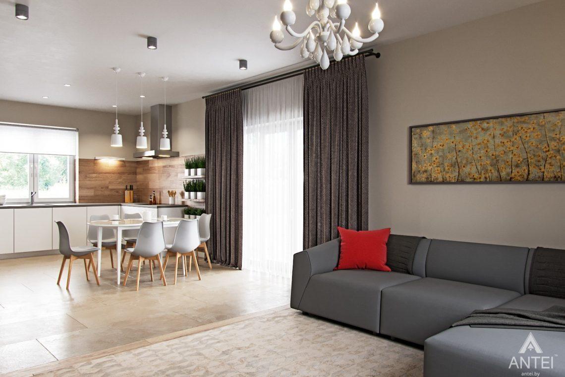 Дизайн интерьера загородного дома в г. Речица - кухни-гостиной фото №3