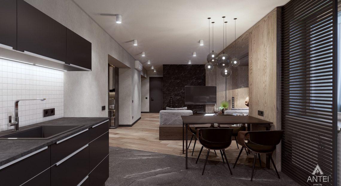 Дизайн интерьера трехкомнатная квартира в Жлобине - гостиная-кухня фото №6