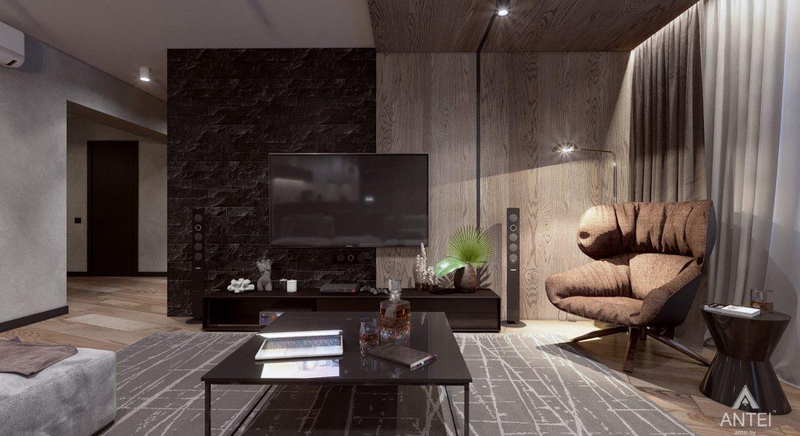 Дизайн интерьера трехкомнатная квартира в Жлобине - гостиная-кухня фото №2