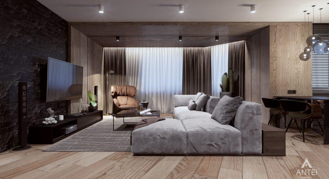 Дизайн интерьера трехкомнатная квартира в Жлобине - гостиная-кухня фото №3