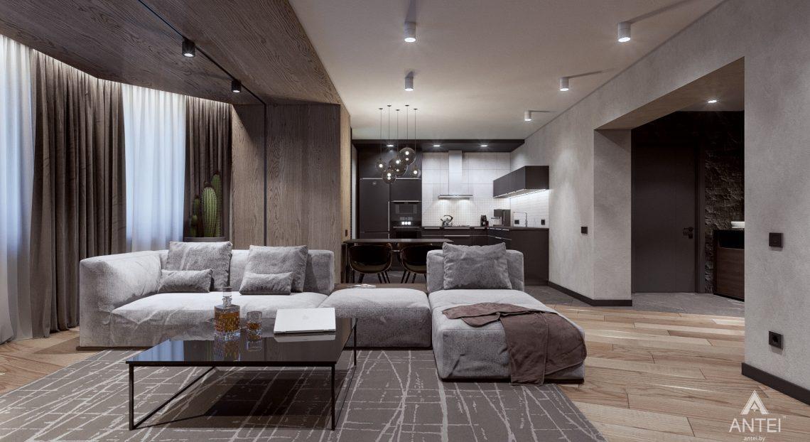 Дизайн интерьера трехкомнатная квартира в Жлобине - гостиная-кухня фото №1