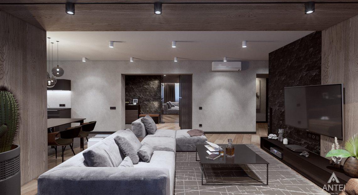 Дизайн интерьера трехкомнатная квартира в Жлобине - гостиная-кухня фото №4