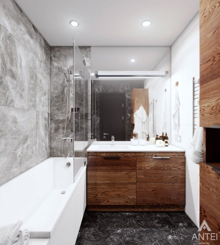 Дизайн интерьера трехкомнатная квартира в Жлобине - ванная фото №2