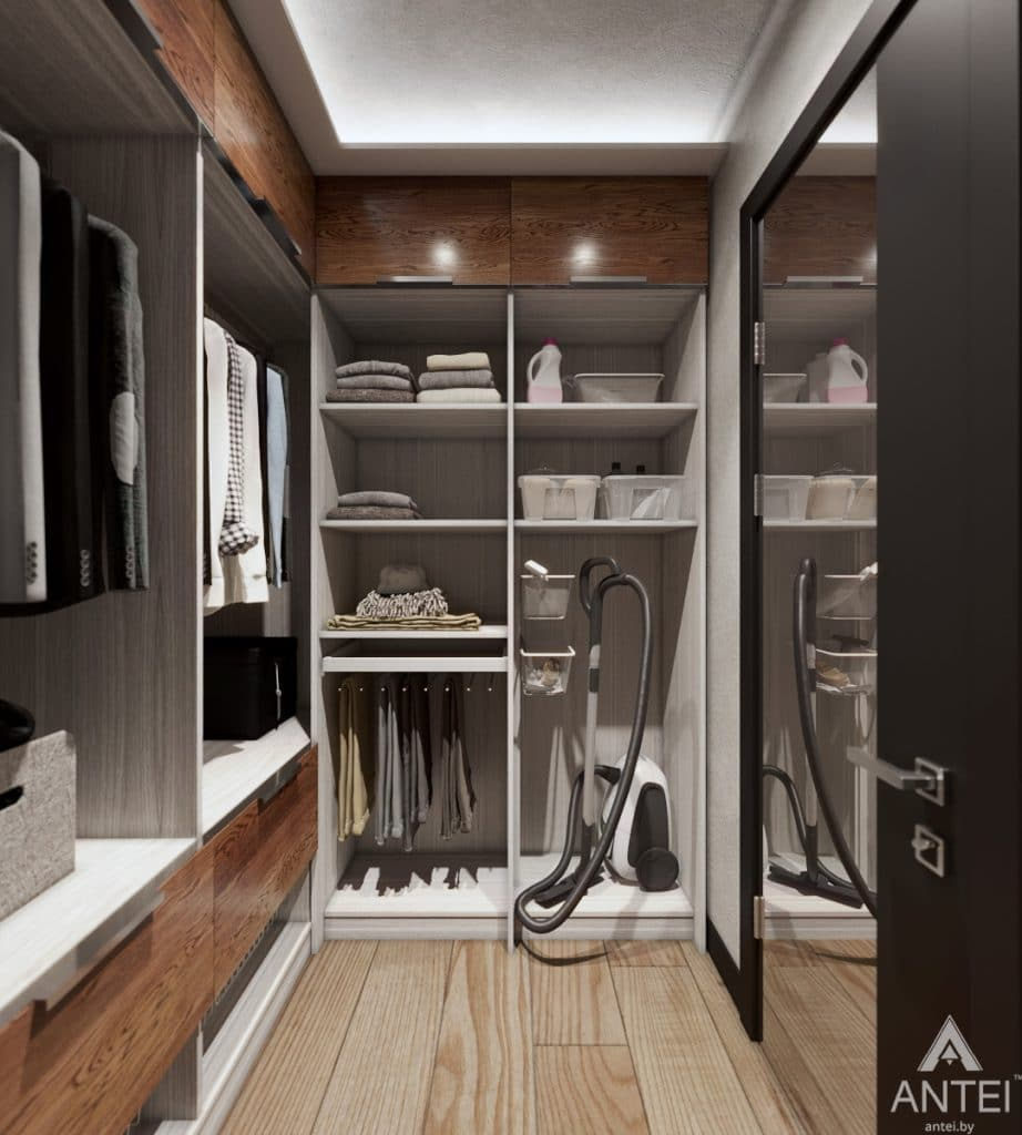 Дизайн интерьера трехкомнатная квартира в Жлобине - гардеробная фото №2