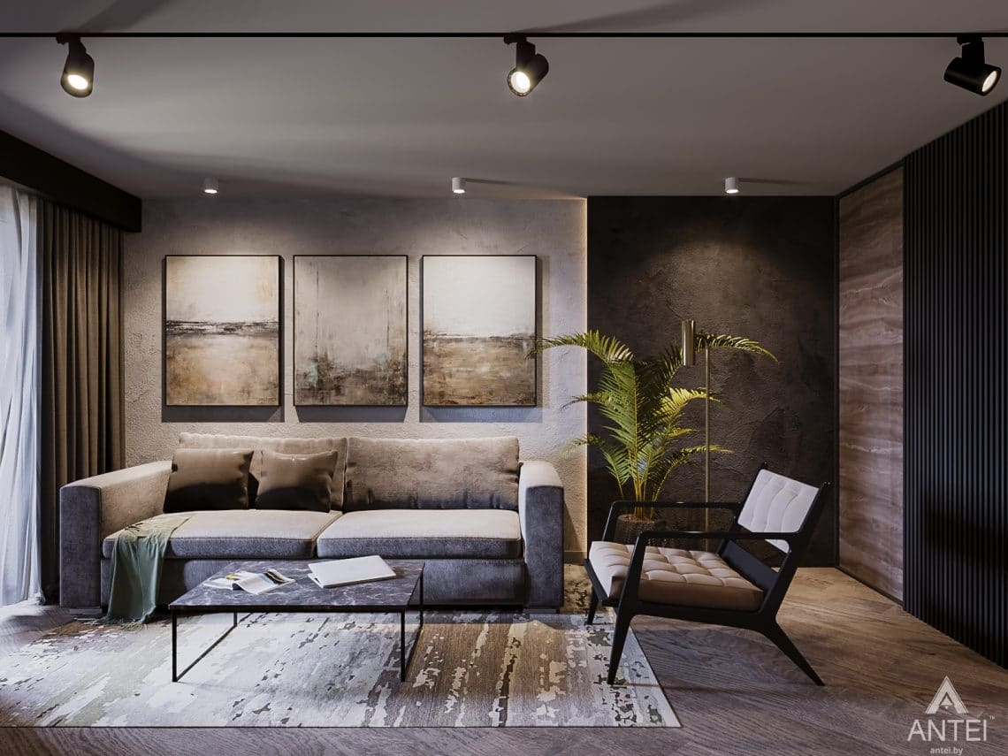 Дизайн интерьера трехкомнатная квартира в Светлогорске - гостиная фото №2