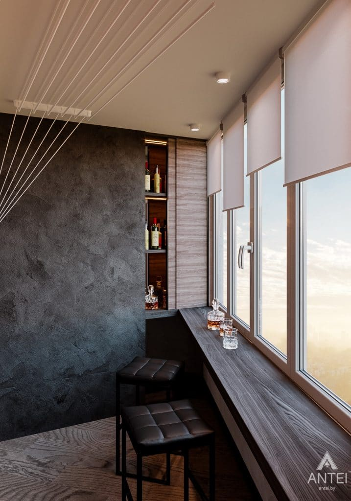 Дизайн интерьера трехкомнатная квартира в Светлогорске - лоджия фото №2