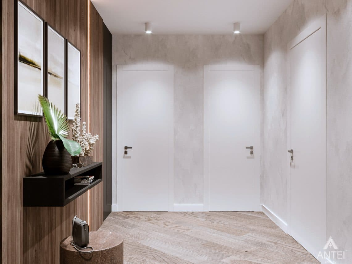 Дизайн интерьера трехкомнатная квартира в Светлогорске - прихожая фото №3
