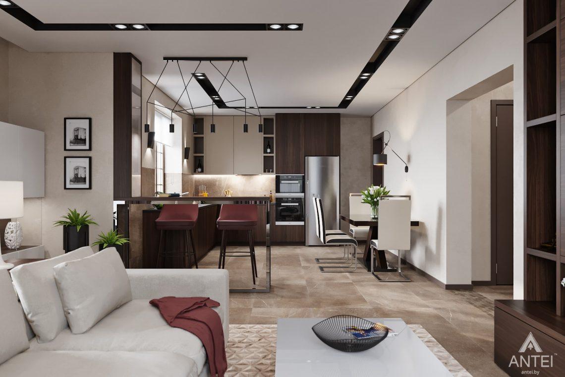 Дизайн интерьера дома в п. Большевик - гостиная-кухня фото №3