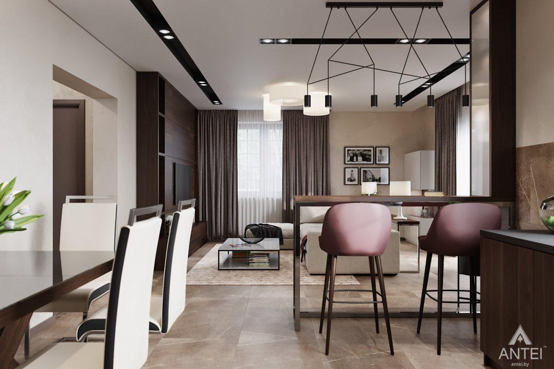 Дизайн интерьера дома в п. Большевик - гостиная-кухня фото №4