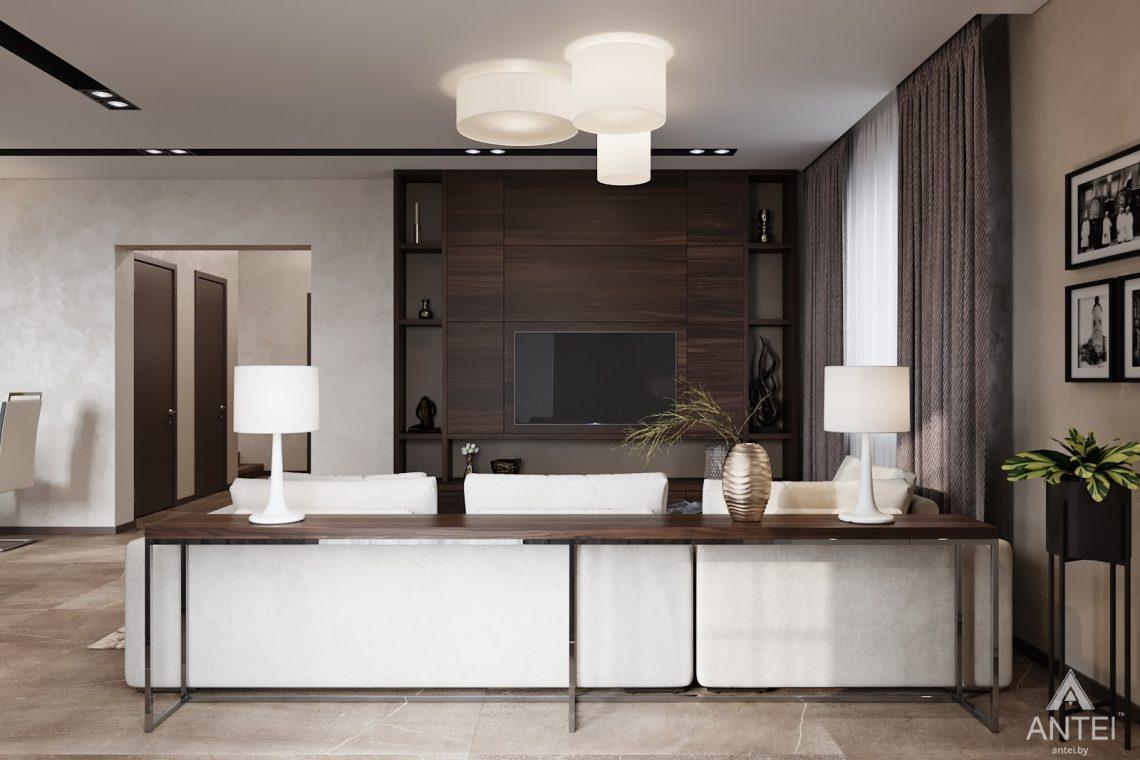 Дизайн интерьера дома в п. Большевик - гостиная-кухня фото №2