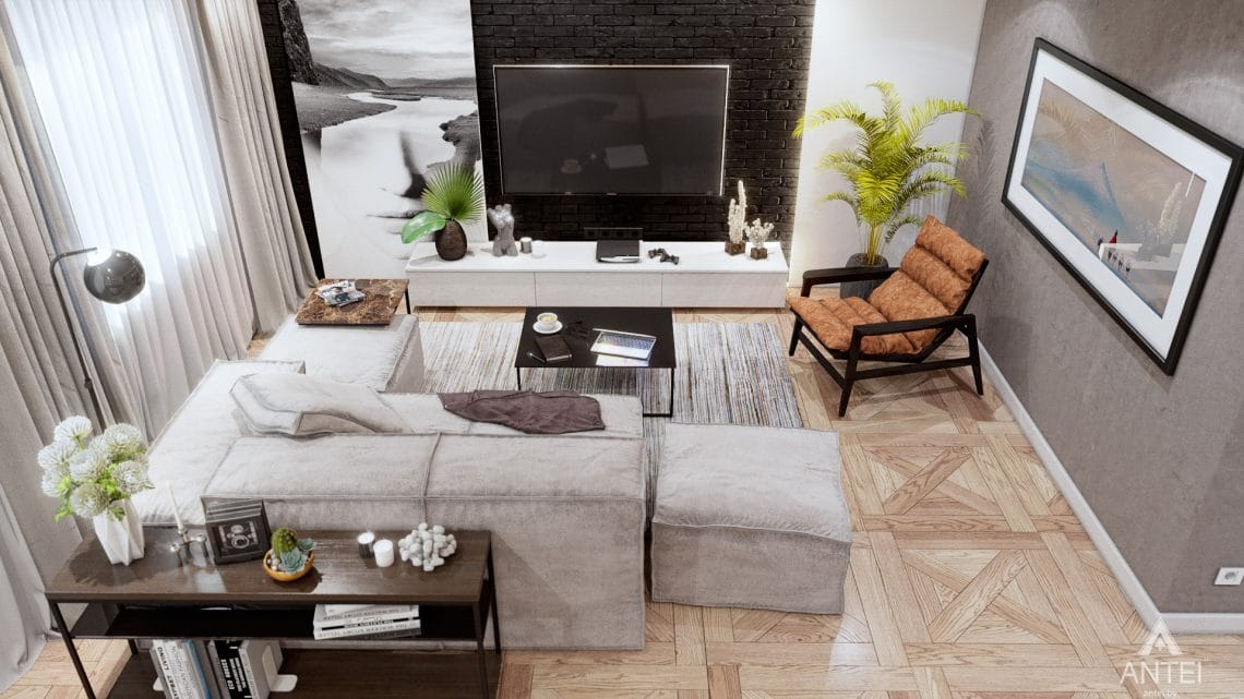 Дизайн интерьера дома c мансардой в Гомеле - кухни-гостиной фото №5
