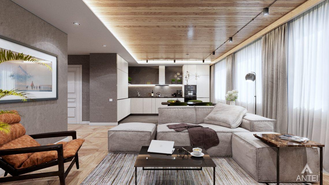 Дизайн интерьера дома c мансардой в Гомеле - кухни-гостиной фото №1
