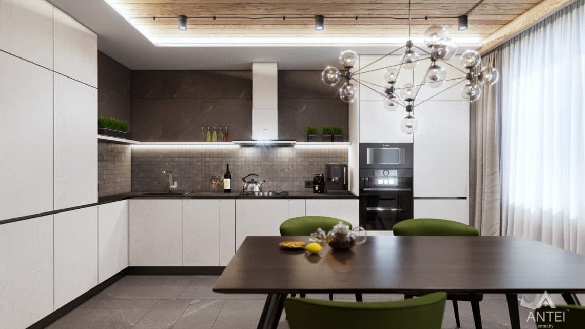 Дизайн интерьера дома c мансардой в Гомеле - кухни-гостиной фото №2