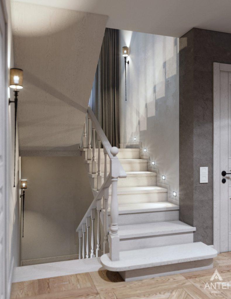 Дизайн интерьера дома c мансардой в Гомеле - лестница фото №1