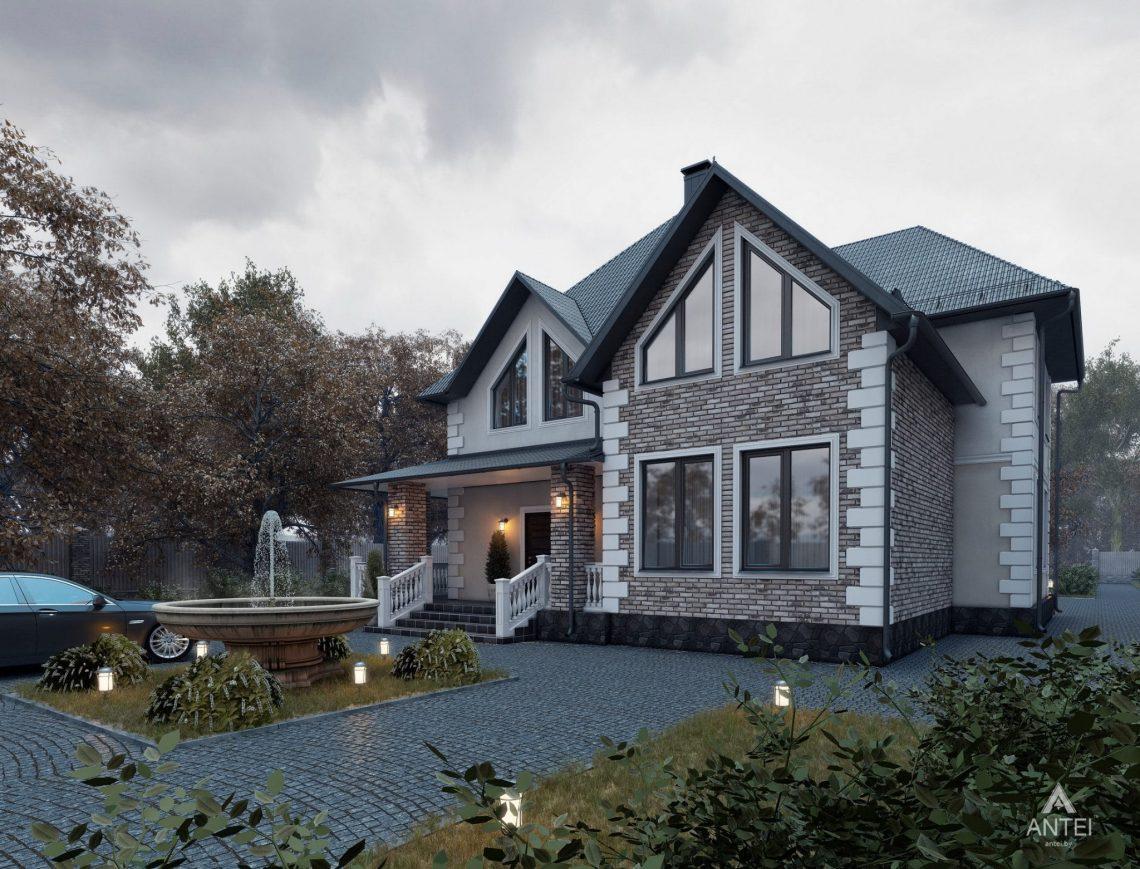 Дизайн фасадов дома с мансардой в Гомеле - вид спереди фото №2