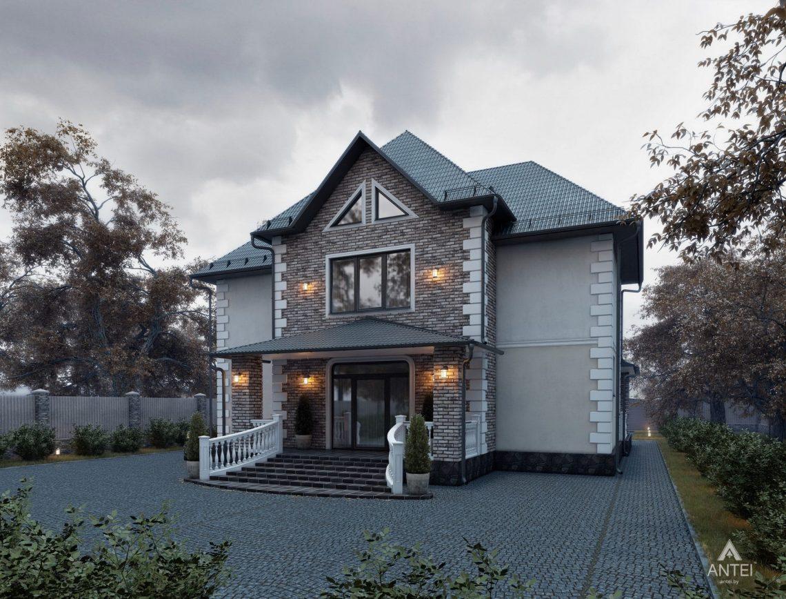 Дизайн фасадов дома с мансардой в Гомеле - вид сзади фото №1