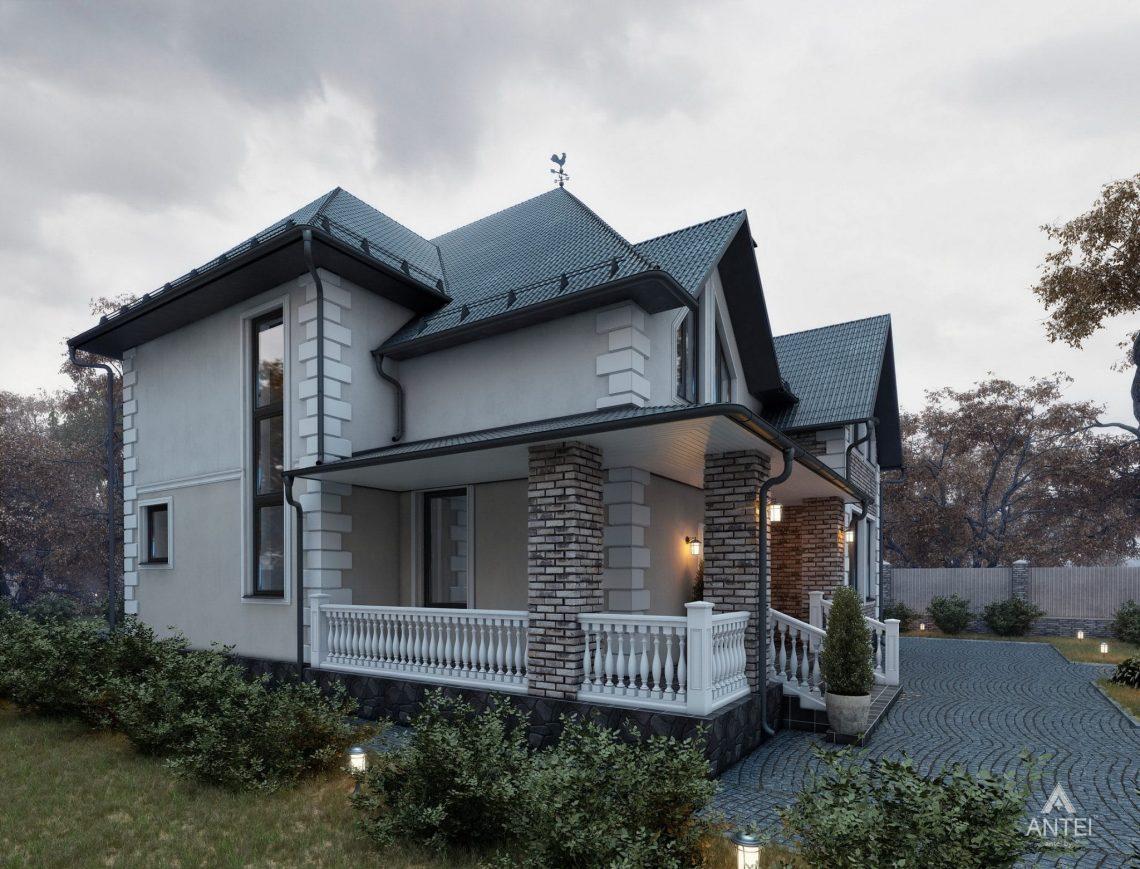 Дизайн фасадов дома с мансардой в Гомеле - вид справа