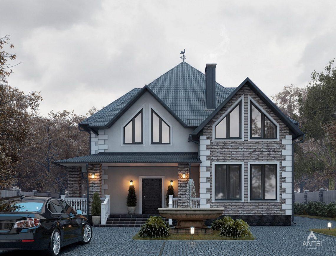 Дизайн фасадов дома с мансардой в Гомеле - вид спереди фото №1