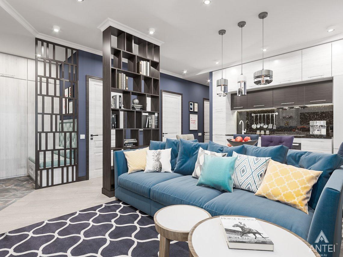 Дизайн интерьера трехкомнатная квартира в Гомеле , ул. Волотовская - гостиная-кухня фото №1