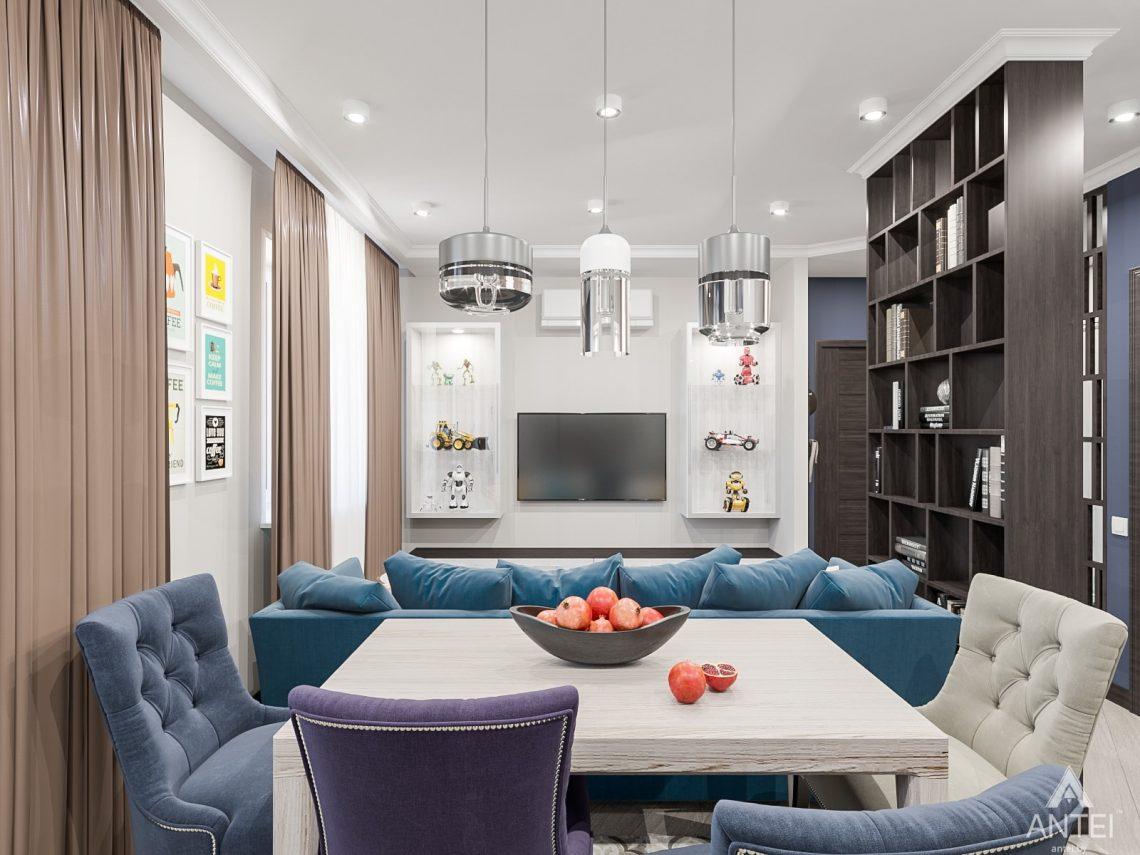 Дизайн интерьера трехкомнатная квартира в Гомеле , ул. Волотовская - гостиная-кухня фото №2