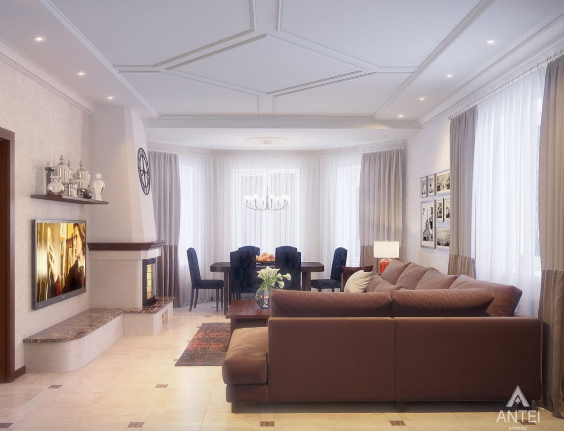 Дизайн интерьера коттеджа в Гродно - гостиная фото №2