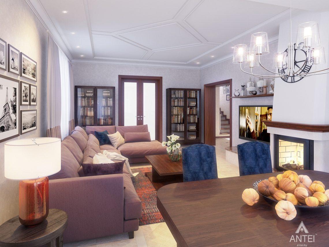 Дизайн интерьера коттеджа в Гродно - гостиная фото №3