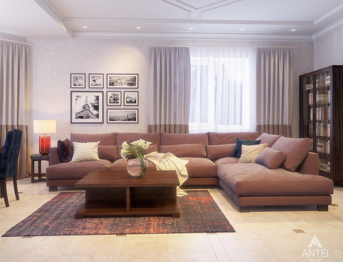 Дизайн интерьера коттеджа в Гродно - гостиная фото №1